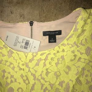 Ann Taylor Yellow Lace Top NEW 2